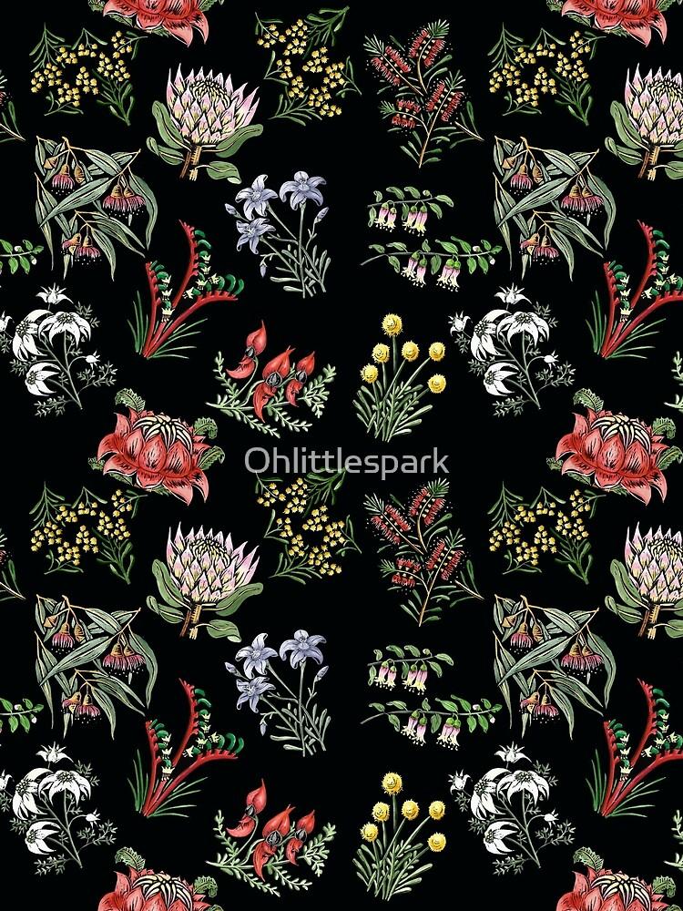 Native Flower Lino Print by Ohlittlespark