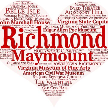 Heart of Richmond Red Heart Word Cloud Products by Mel747