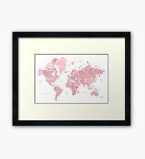 Lámina enmarcada Mapa del mundo rosado rosa claro y silenciado con ciudades