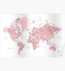 Pink World Map Posters Redbubble - Pink world map poster