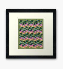 Luxury pixel art blocks, green Camu Framed Print