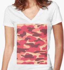 Red Camouflage Design Women's Fitted V-Neck T-Shirt
