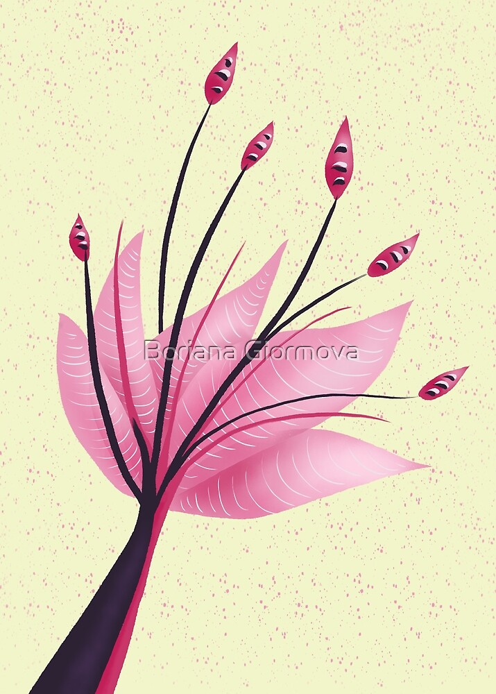 Pink Abstract Water Lily Flower by Boriana Giormova