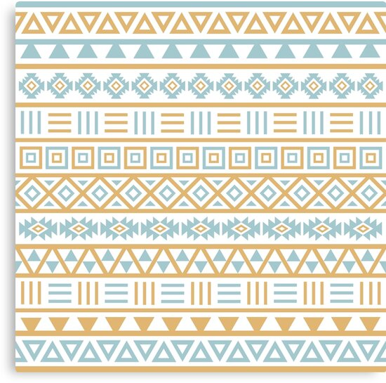 Aztec Influence Pattern II Blue and Gold on White\