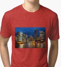 Brisbane city skyline after dark. Queensland. Australia. Tri-blend T-Shirt