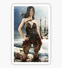 Portrait of a pirate female posing after coming ashore Sticker