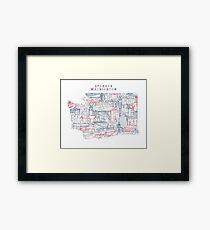 Spokane Washington Skyline Landmarks Map Print Framed Print