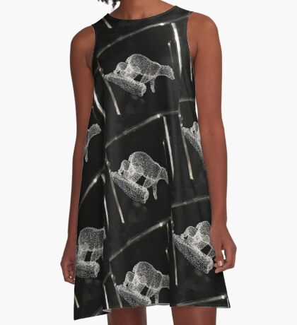 glass on black A-Line Dress