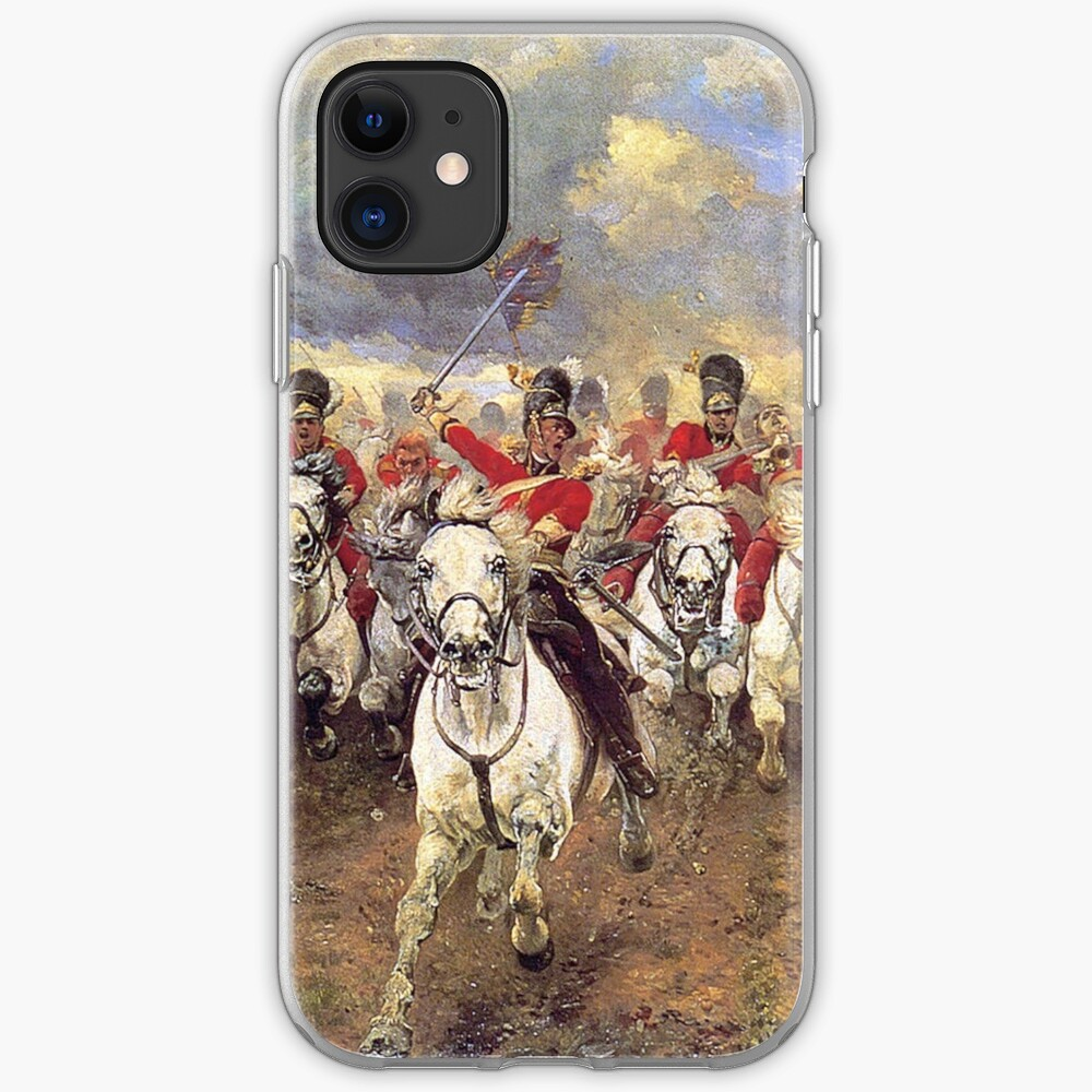 Scotland Forever! 1881, Battle of Waterloo, Lady Butler, Charge of the Royal Scots Greys. iPhone Case & Cover
