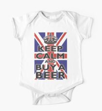 KEEP CALM & BUY A BEER, UNION JACK, BRITISH, FLAG, BLIGHTY, UK, ON BLACK One Piece - Short Sleeve