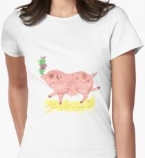 Pig Tea Party Illustration Women's Fitted T-Shirt