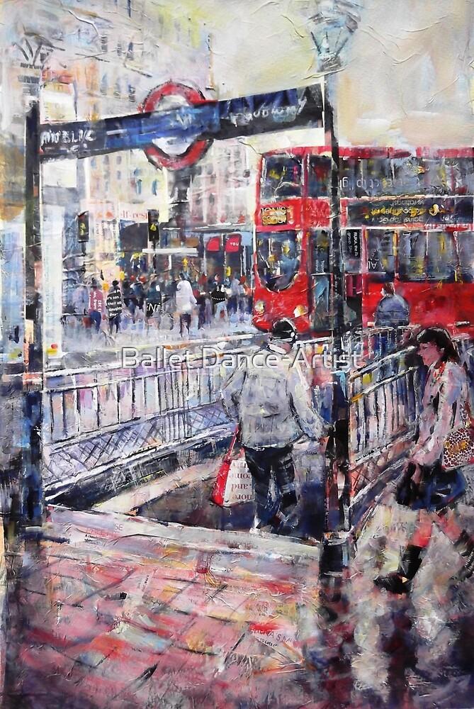 London Art - Underground Subway & Red Bus by Ballet Dance-Artist