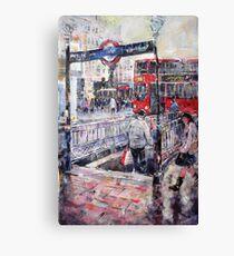 London Art - Underground Subway & Red Bus Canvas Print
