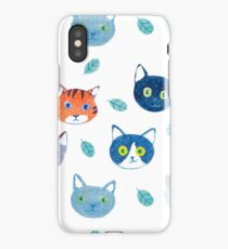 Watercolor Cats and leaves pattern iPhone Case