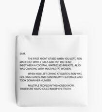 letter to sam sammi sammy Tote Bag