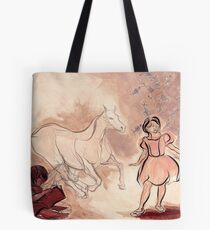 Girl with Horse Illustration Tote Bag