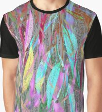 Weeping Willow Leaf Pattern Graphic T-Shirt