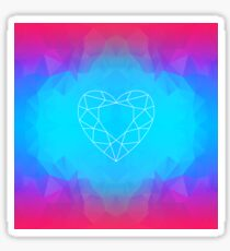 Glowing Heart Sacred Geometry Low Poly Multicolor Abstract Artwork Sticker