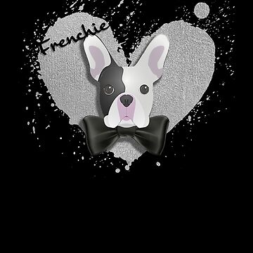 Frenchie: French Bulldog W/ Love Heart and Black Bow Tie by sphericalearth