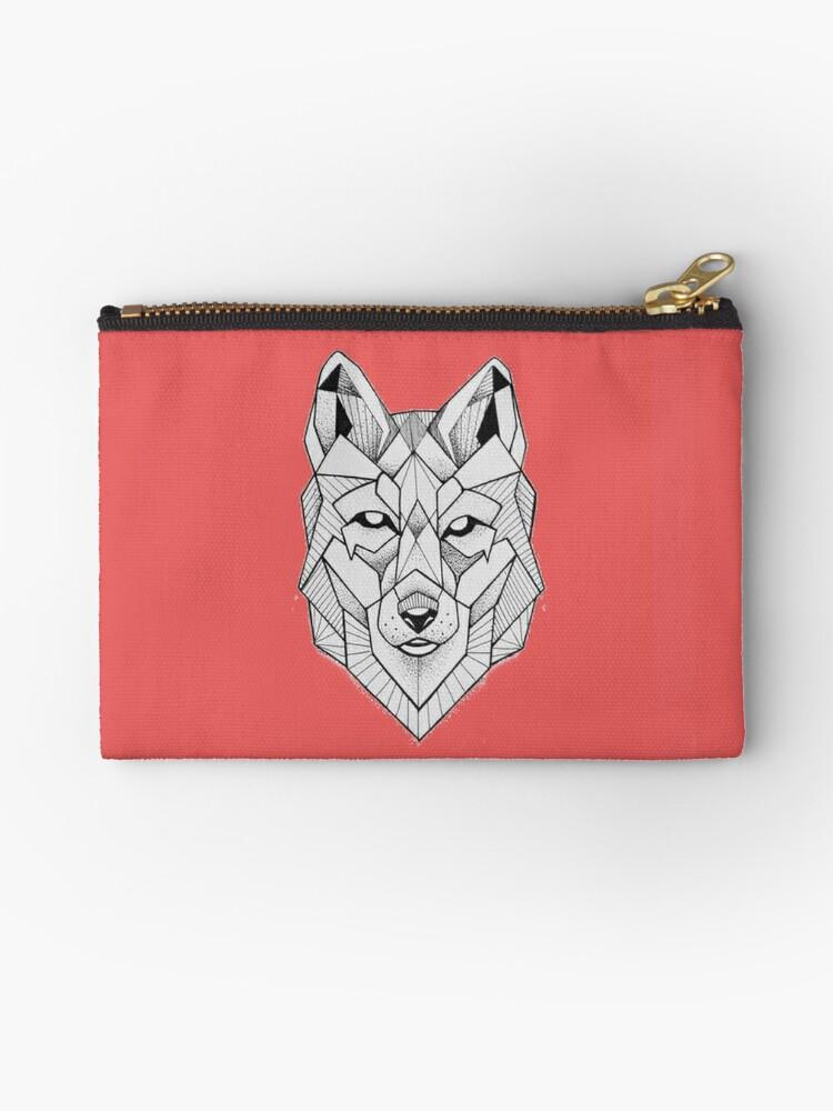 Geometric Wolf Face Art Zipper Pouch By Jennifer Aron