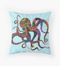 Electric Octopus Throw Pillow