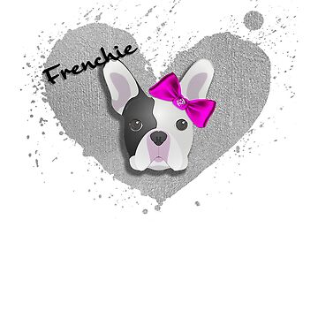 Frenchie: French Bulldog w/ Love Heart and Pink Bow by sphericalearth