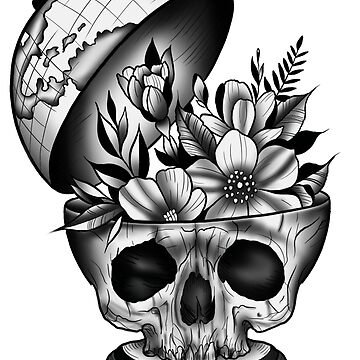 Skull globe by KrissyTattoos03