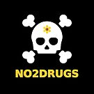 No to Drugs Large Skull Crossbones Flower Anti-Drug Dark Color by TinyStarAmerica