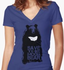 Save the Moon Bear (Bile farming makes me sick to the stomach) Women's Fitted V-Neck T-Shirt