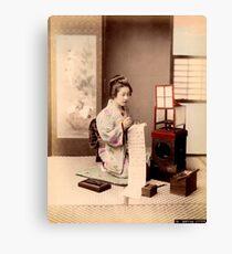 Geisha writing a letter Canvas Print