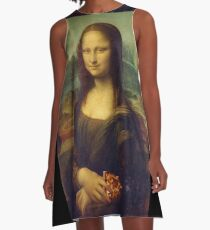 Mona Lisa with a Piece of Pizza A-Line Dress