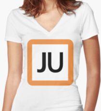 JU / 宇都宮線(東北本線)・高崎線-Utsunomiya line (Tohoku), Takasaki Line- Women's Fitted V-Neck T-Shirt