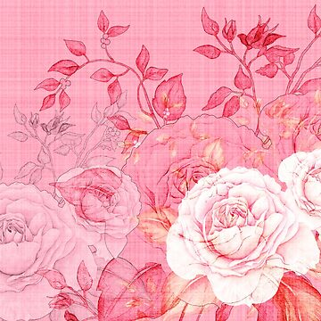 Pink Rose Floral Print  by ClaudiaFlores