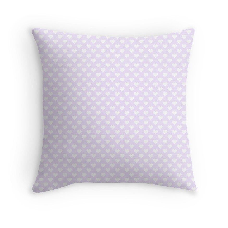 Large White Hearts on soft Lilac Pastel Color
