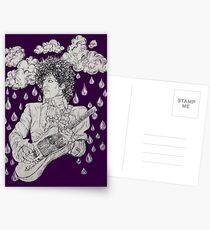 Purple Rain Classic Rock Star Music Legend  Illustration Postcards