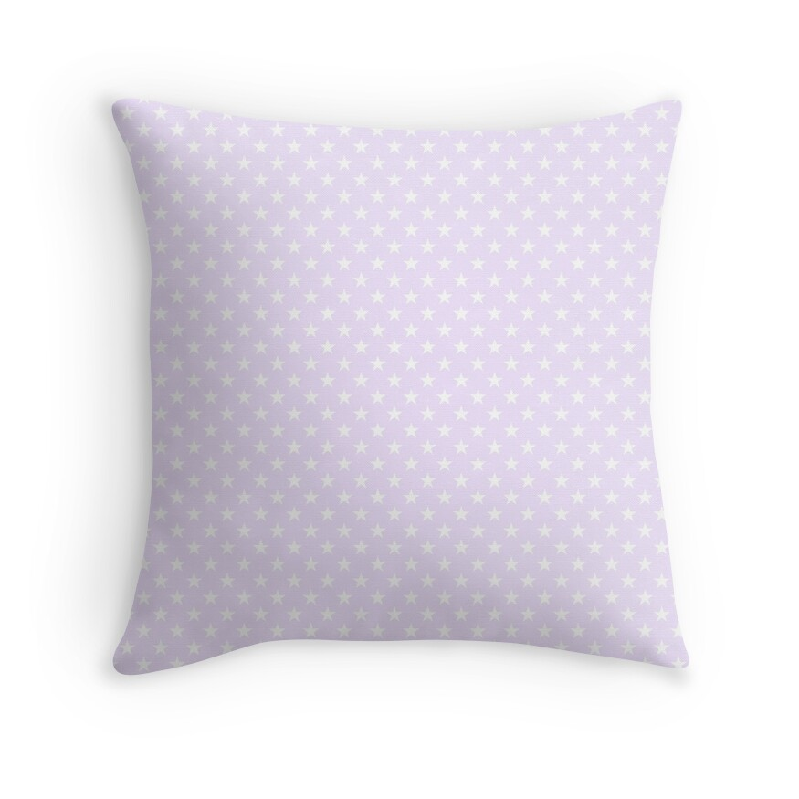 Bright White Stars on Pale Lilac Pastel