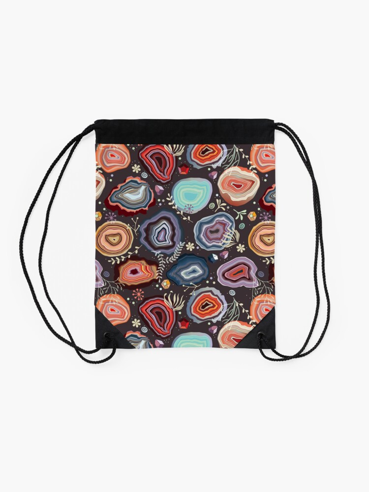 Alternate view of  Colorful agates Drawstring Bag