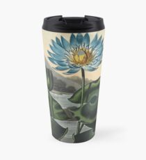 Botanical illustration: Blue Egyptian water lily by Robert Thornton – State Library Victoria Travel Mug