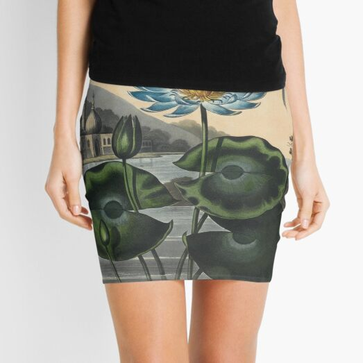 Botanical illustration: Blue Egyptian water lily by Robert Thornton – State Library Victoria Mini Skirt