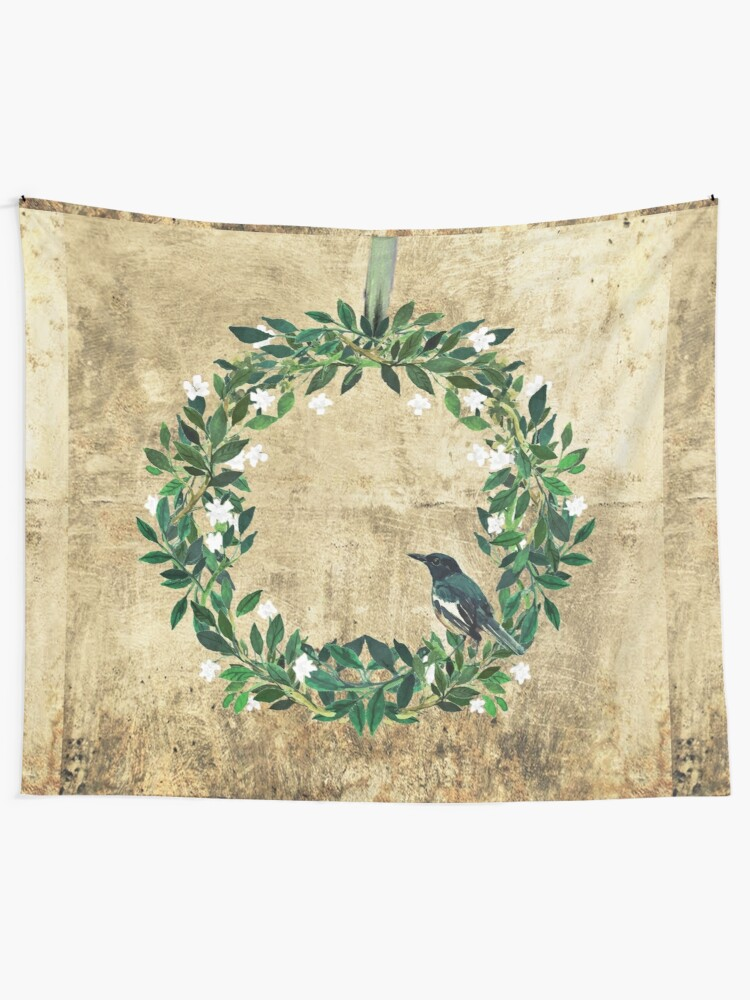 Alternate view of Wreath #White Flowers & Bird #Royal collection Tapestry