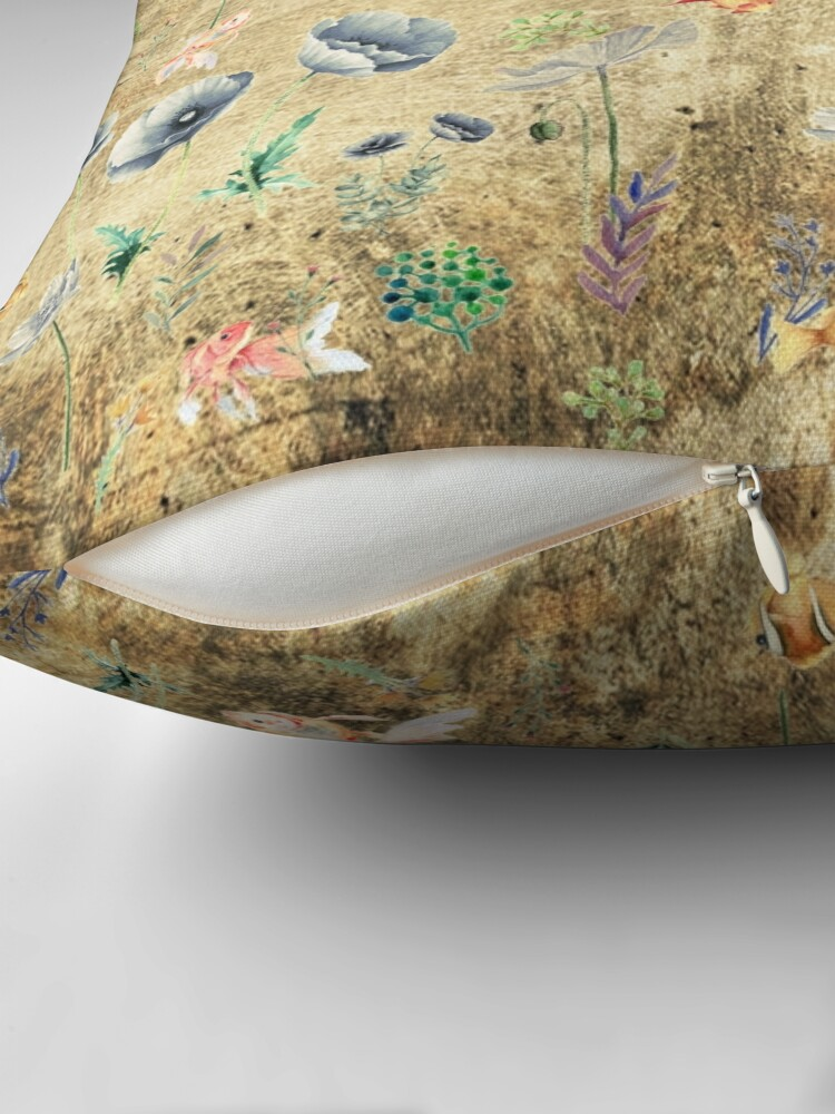 Alternate view of Fishies & Garden #Gold-plated Throw Pillow