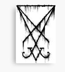 Lucifer Sigil - The Devil's Symbol Black Grunge Canvas Print
