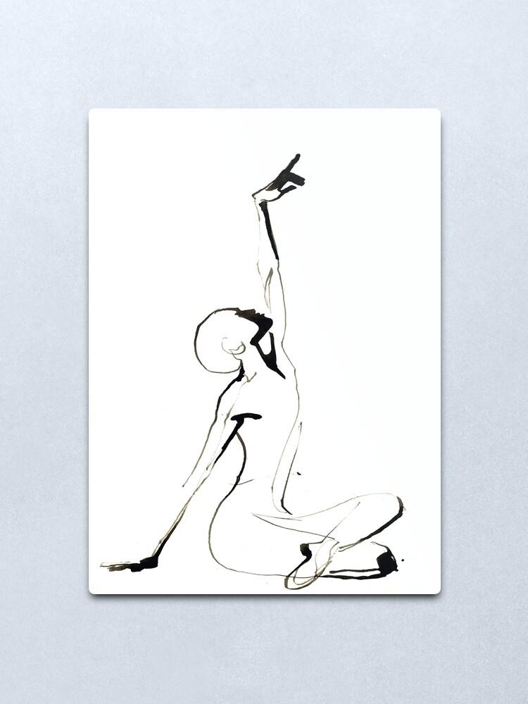 Alternate view of India Ink Dance Drawing Metal Print