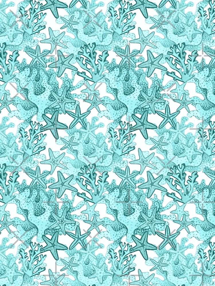 Starfish Watercolor Aqua coral reef ,ocean home decor by MagentaRose