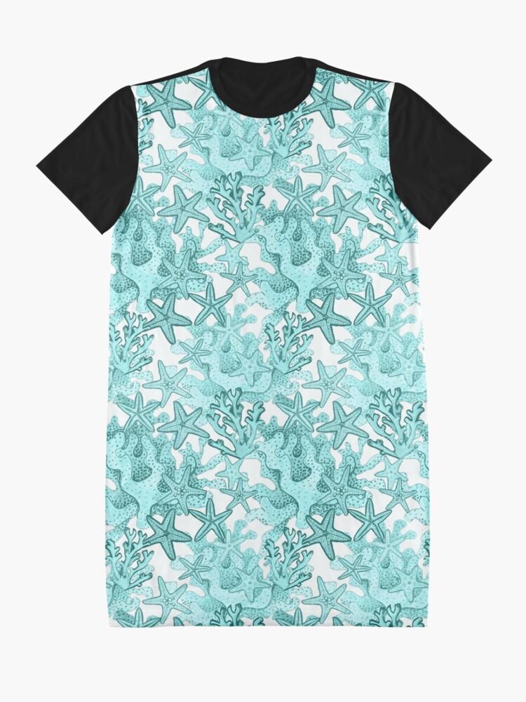 Alternate view of Starfish Watercolor Aqua coral reef ,ocean home decor Graphic T-Shirt Dress