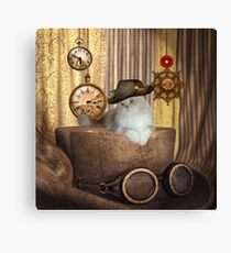 Steampunk, beautiful cat with steampunk hat Canvas Print