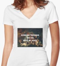 Running Through the Six With My Woes Women's Fitted V-Neck T-Shirt
