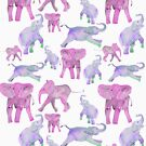Pink and Lavender Elephants by elee