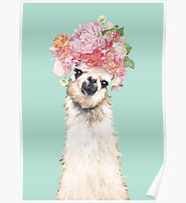 Llama with Flowers Crown #2 Poster