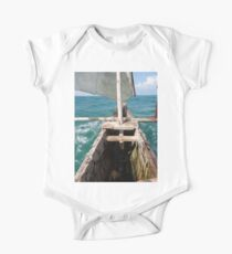 sitting inside a wooden fishing dhow One Piece - Short Sleeve